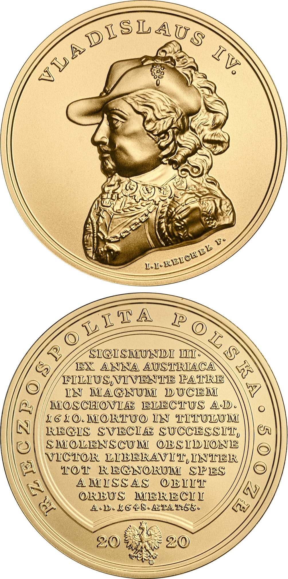 Image of 500 zloty coin - Ladislas Vasa | Poland 2020.  The Gold coin is of BU quality.