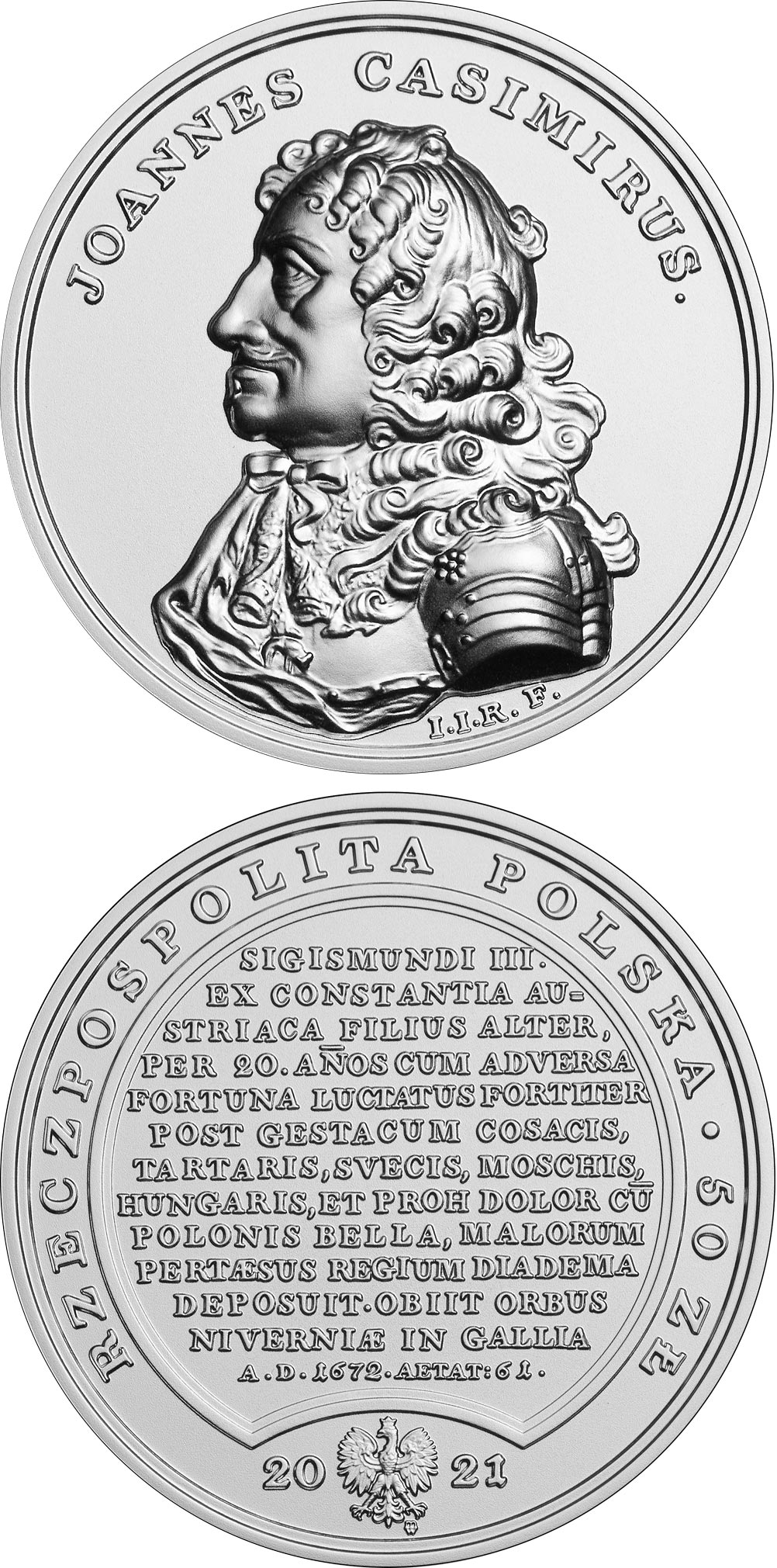 Image of 50 zloty coin - John Casimir Vasa | Poland 2021.  The Silver coin is of BU quality.