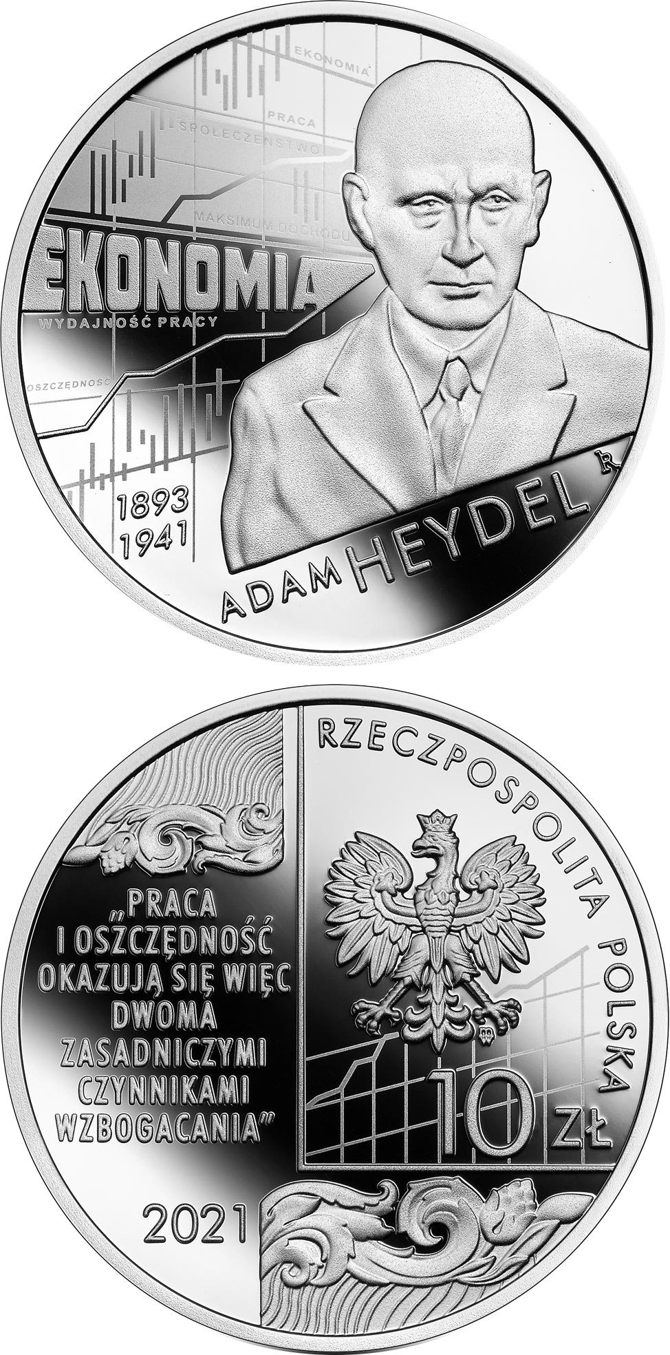 Image of 10 zloty coin - Adam Heydel | Poland 2021.  The Silver coin is of Proof quality.