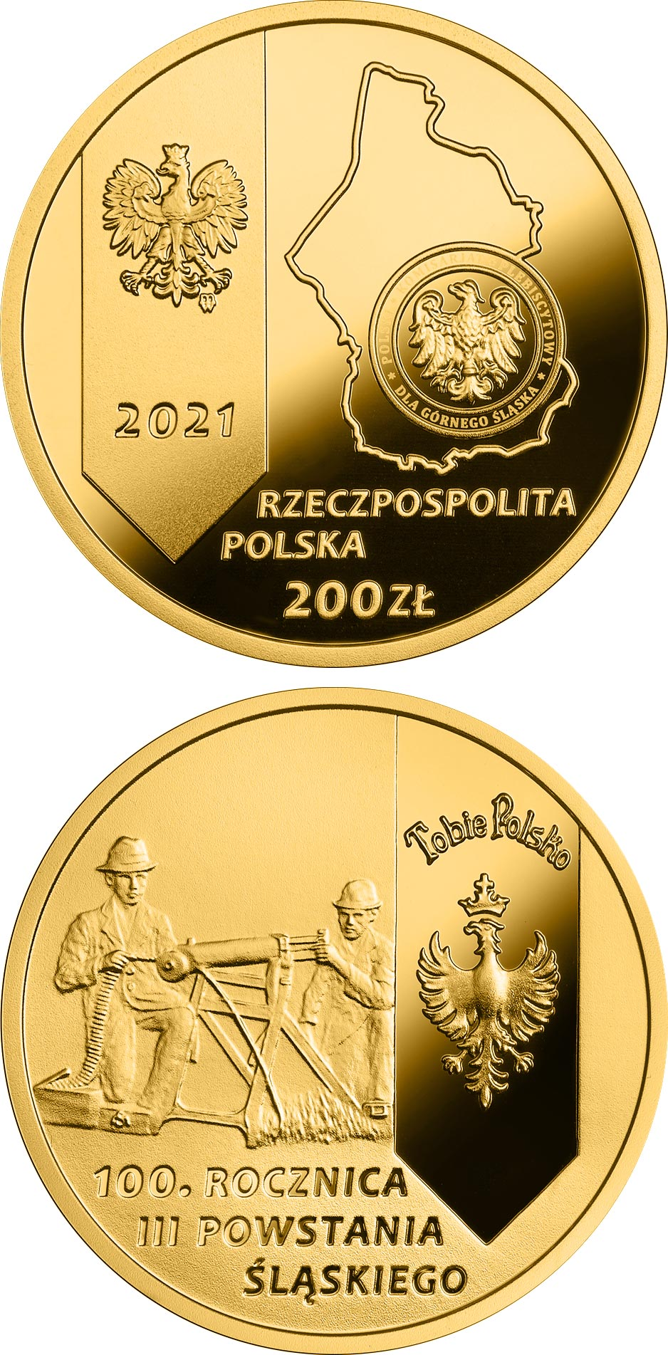 Image of 200 zloty coin - 100th Anniversary of the 3rd Silesian Uprising  | Poland 2021.  The Gold coin is of Proof quality.