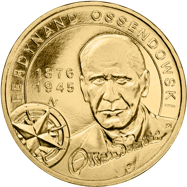 Image of 2 zloty coin - Ferdynand Ossendowski | Poland 2011.  The Nordic gold (CuZnAl) coin is of UNC quality.