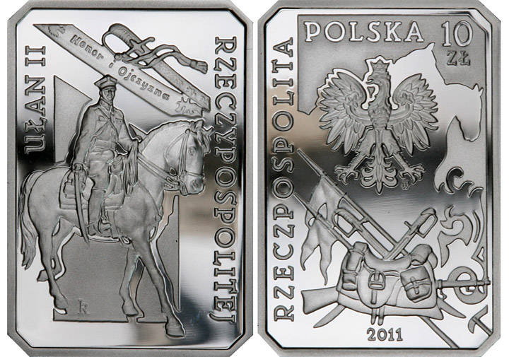 Image of 10 zloty coin - Uhlan of the Second Republic of Poland   | Poland 2011.  The Silver coin is of Proof quality.