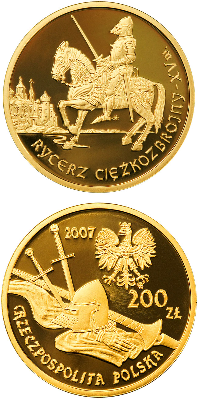 Image of 200 zloty coin - The Mounted Knight 15th Century | Poland 2007.  The Gold coin is of Proof quality.
