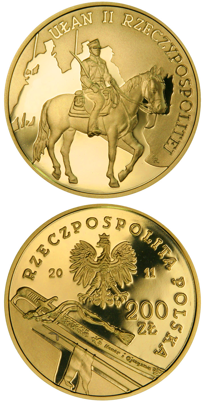 Image of 200 zloty coin - Uhlan of the Second Republic of Poland   | Poland 2011.  The Gold coin is of Proof quality.