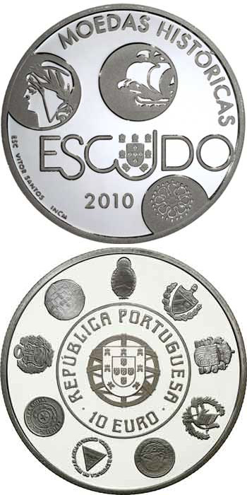 Image of 10 euro coin – VIII Ibero-American Series - Historical Coins - The Escudo | Portugal 2010.  The Silver coin is of Proof, UNC quality.