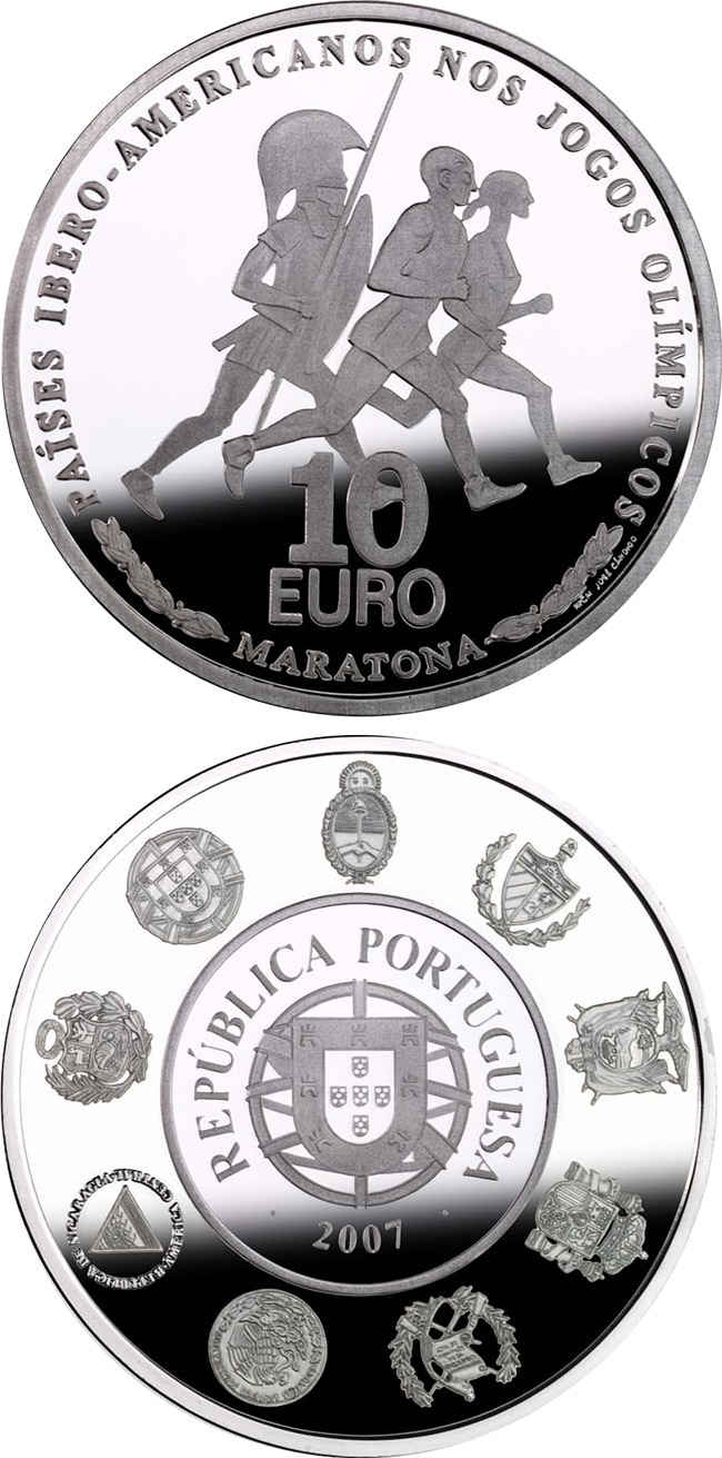 Image of 10 euro coin – VII Ibero-American Series: Olympic sports – Marathon | Portugal 2007.  The Silver coin is of Proof, UNC quality.