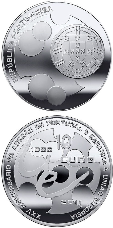 Image of 10 euro coin - 25th Anniversary of the Accession of Spain and Portugal to the EU | Portugal 2011.  The Silver coin is of Proof, UNC quality.