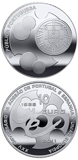 10 euro 25th Anniversary of the Accession of Spain and Portugal to the EU - 2011 - Series: Silver 10 euro coins - Portugal
