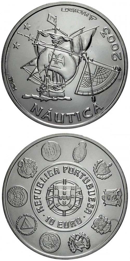 Image of 10 euro coin - V Ibero-American Series: Sailing | Portugal 2003.  The Silver coin is of Proof, UNC quality.
