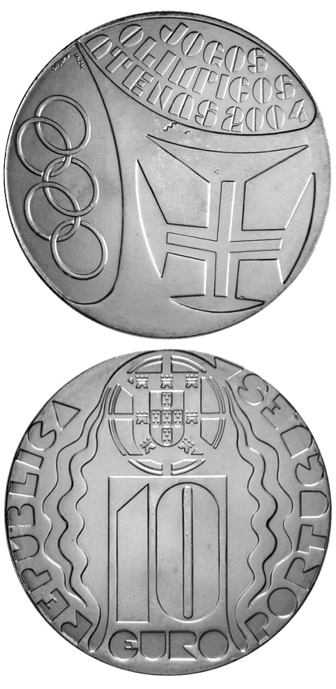 Image of 10 euro coin – Summer Olympic Games in Athens | Portugal 2004.  The Silver coin is of Proof, UNC quality.