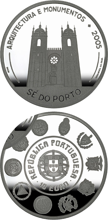 Image of 10 euro coin - VI Ibero-American Series: Architecture and Buildings – Cathedral Sé do Porto  | Portugal 2005.  The Silver coin is of Proof, UNC quality.