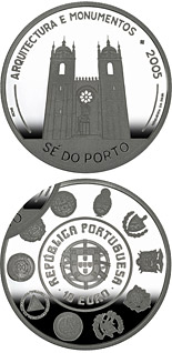10 euro VI Ibero-American Series: Architecture and Buildings – Cathedral Sé do Porto  - 2005 - Series: Silver 10 euro coins - Portugal