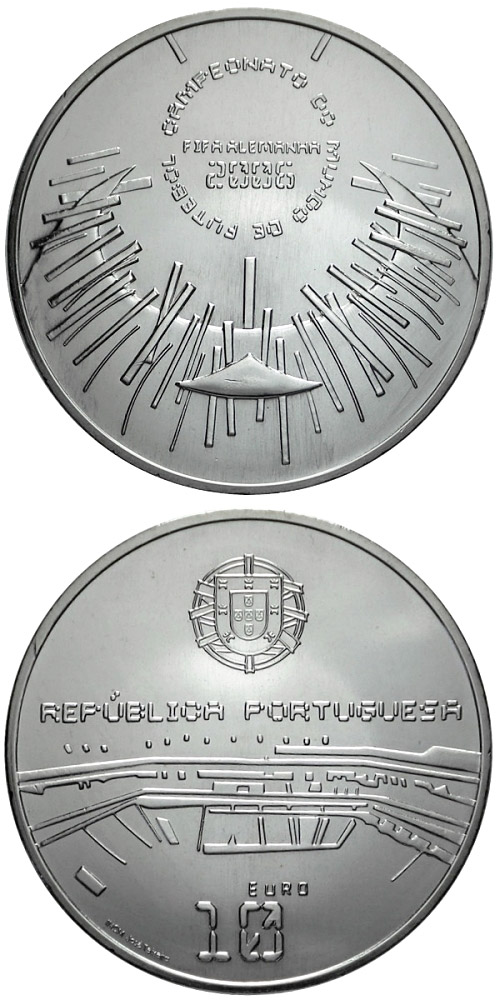 Image of 10 euro coin – XVIII. FIFA Football World Cup in Germany  | Portugal 2006.  The Silver coin is of Proof, UNC quality.