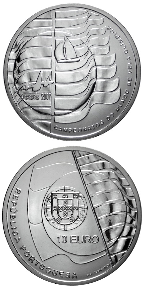 Image of 10 euro coin - Sailing Championships in Cascais  | Portugal 2007.  The Silver coin is of Proof, UNC quality.