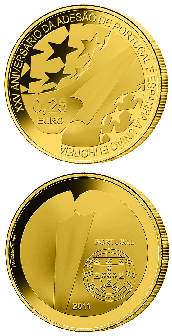 Image of 0.25 euro coin 25th Anniversary of the Accession of Spain and Portugal to the EU | Portugal 2011