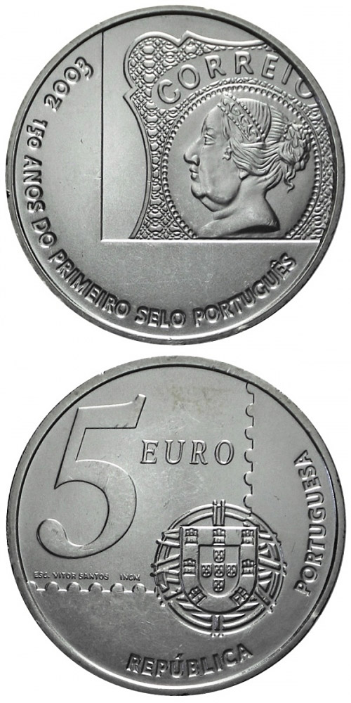 Image of 5 euro coin - 150 years Portuguese stamps | Portugal 2003.  The Silver coin is of Proof, BU, UNC quality.