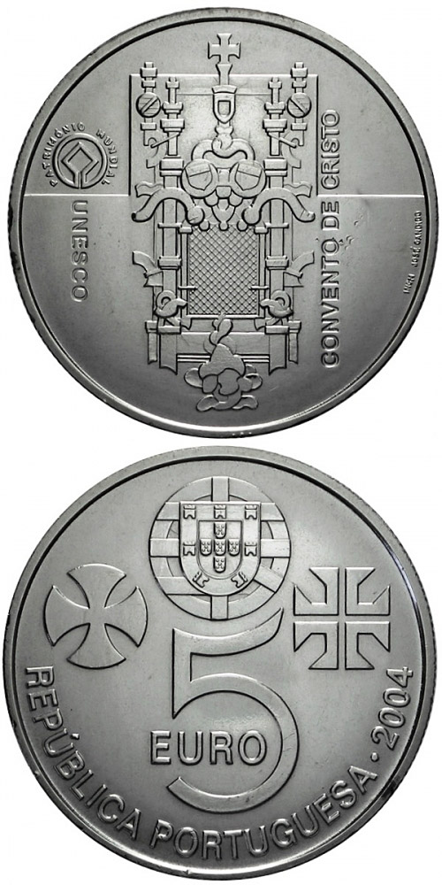 Image of Monastery of Christ in Tomar – 5 euro coin Portugal 2004.  The Silver coin is of Proof, UNC quality.