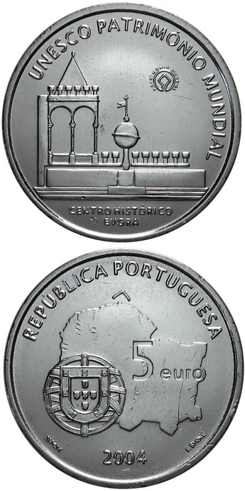 Image of 5 euro coin - Historic Centre of Evora | Portugal 2004.  The Silver coin is of Proof, UNC quality.