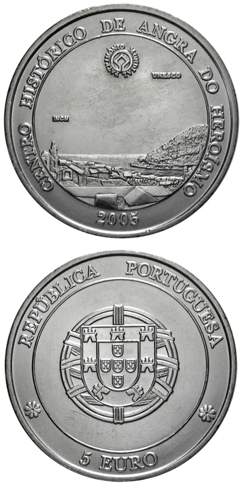 Image of 5 euro coin - Historic Centre of Angra do Heroismo | Portugal 2005.  The Silver coin is of Proof, UNC quality.