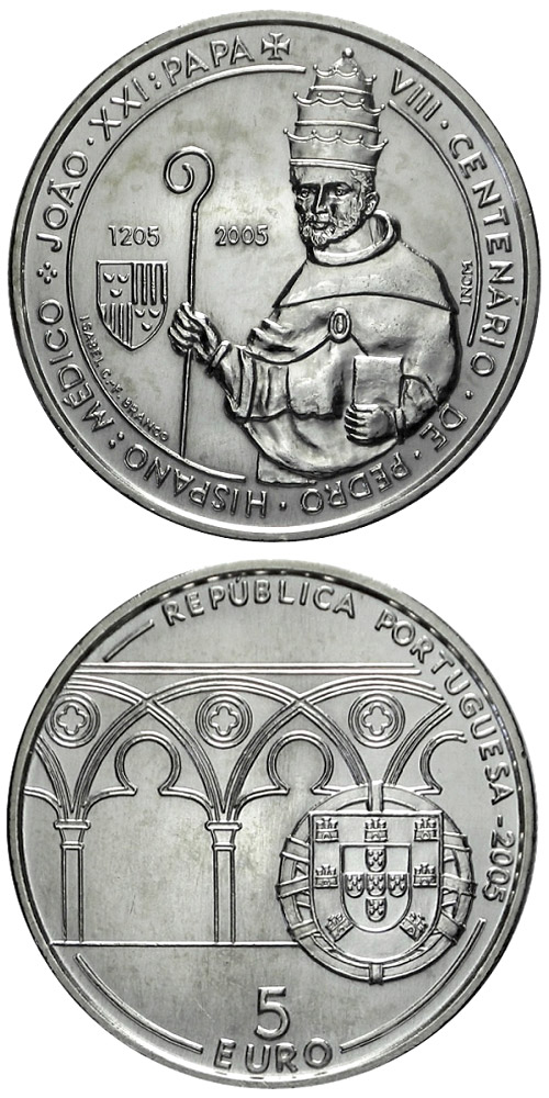 Image of 5 euro coin - 800. birthday of Pope John XXI. | Portugal 2005.  The Silver coin is of Proof, BU, UNC quality.