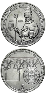 5 euro coin 800. birthday of Pope John XXI. | Portugal 2005
