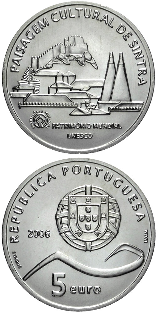 Image of 5 euro coin - Cultural Landscape of Sintra | Portugal 2006.  The Silver coin is of Proof, UNC quality.