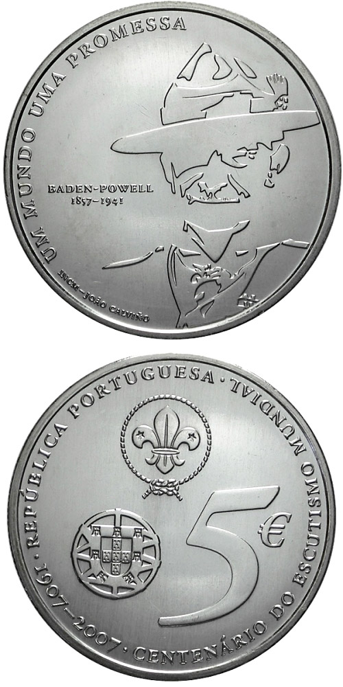 Image of 5 euro coin - 100 years boy scouts | Portugal 2007.  The Silver coin is of Proof, BU, UNC quality.