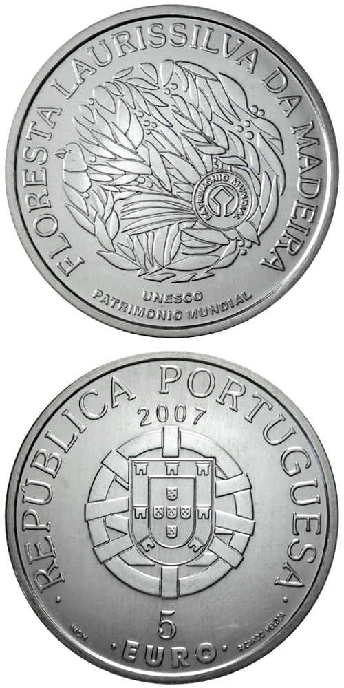 Image of 5 euro coin - Laurisilva forests of Madeira  | Portugal 2007.  The Silver coin is of Proof, UNC quality.