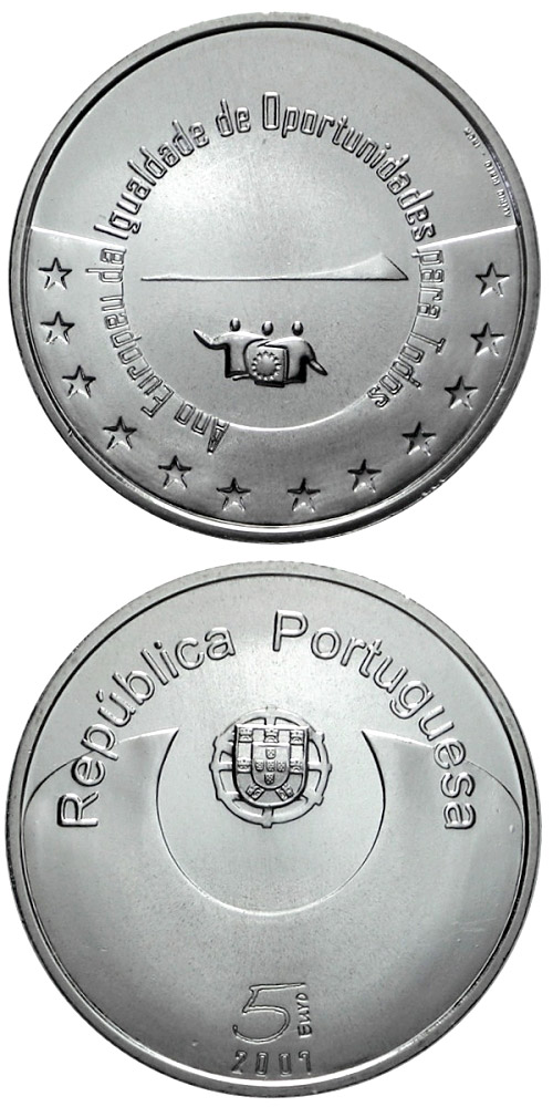 Image of 5 euro coin – European Year of Equal Opportunities for All | Portugal 2007.  The Silver coin is of Proof, BU, UNC quality.