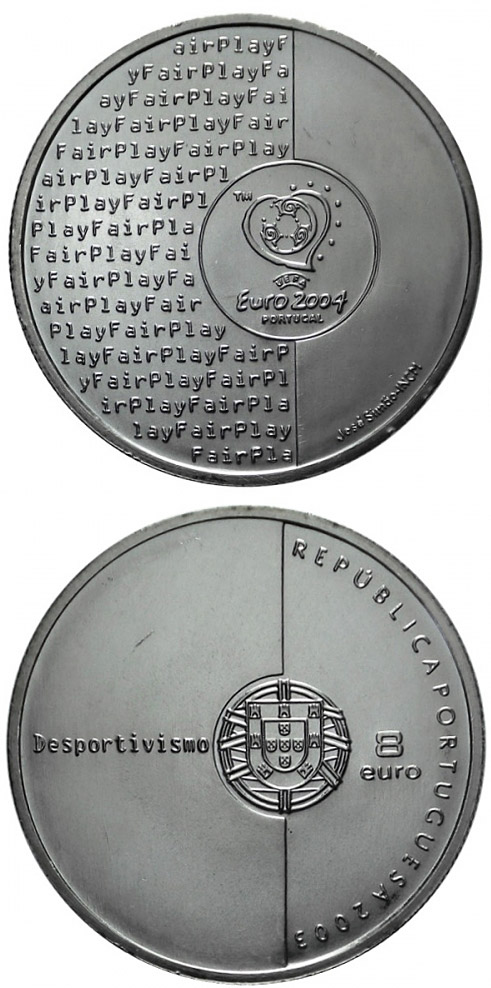 Image of 8 euro coin – Football European Championship 2004 - Football is Fair Play | Portugal 2003.  The Silver coin is of Proof, BU, UNC quality.