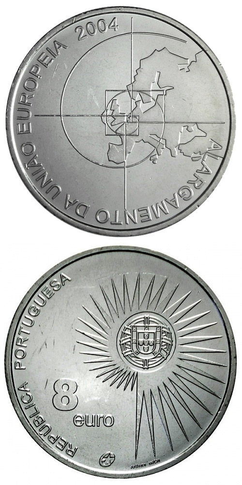 Image of 8 euro coin – Enlargement of the European Union | Portugal 2004.  The Silver coin is of Proof, UNC quality.