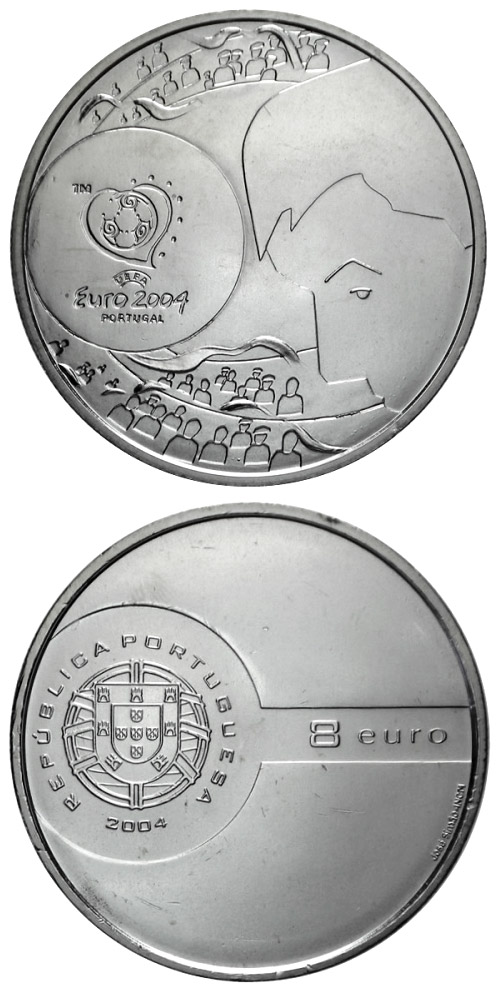 Image of 8 euro coin - Football European Championship 2004 - The goal shot | Portugal 2004.  The Silver coin is of Proof, BU, UNC quality.