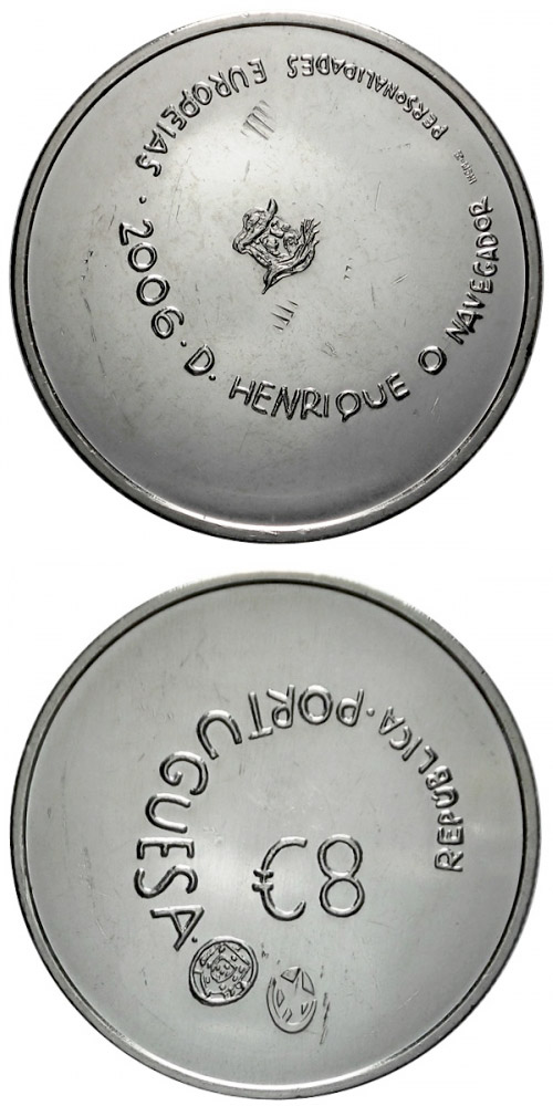 Image of 8 euro coin – Henry the Navigator - Prince of Portugal | Portugal 2006.  The Silver coin is of Proof, UNC quality.