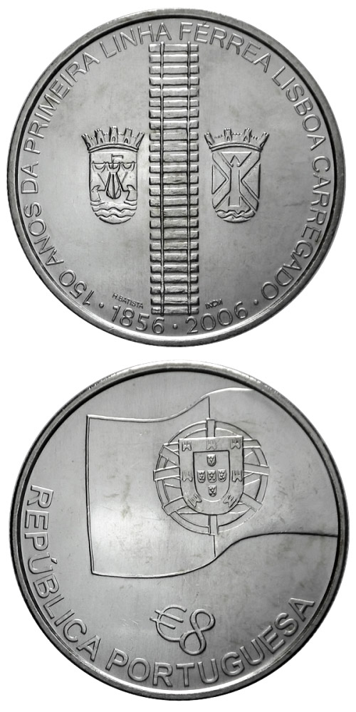 Image of a coin 8 euro | Portugal | 150 years of railways in Portugal | 2006