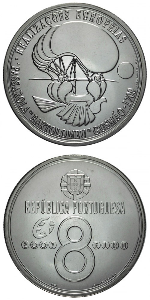 Image of 8 euro coin – Airship Passarola of Bartolomeu de Gusmao | Portugal 2007.  The Silver coin is of Proof, UNC quality.