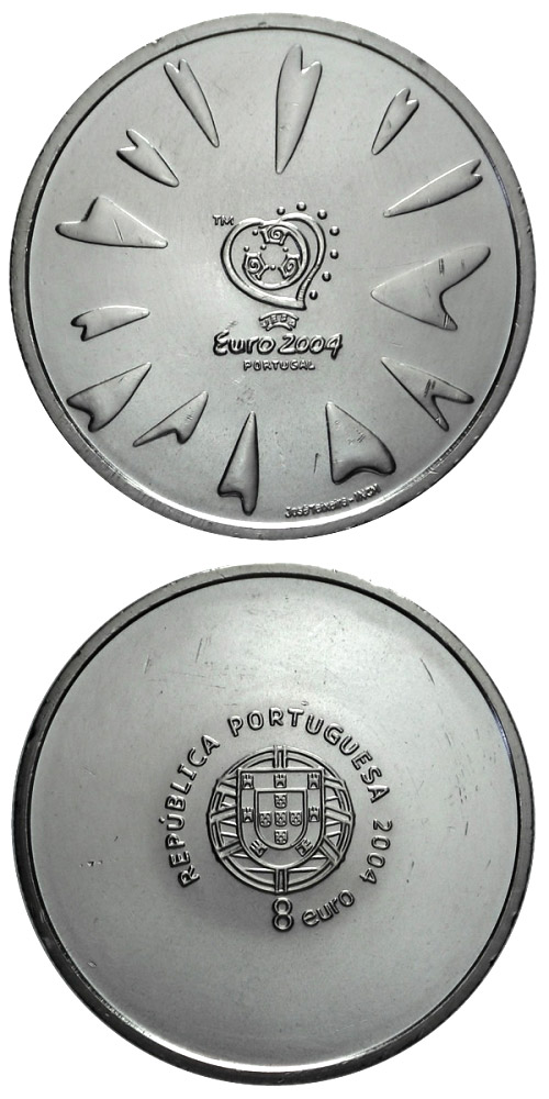 Image of a coin 8 euro | Portugal | Football European Championship 2004 - The goal | 2004