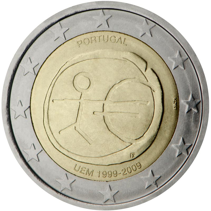 Image of 2 euro coin – 10th Anniversary of the Introduction of the Euro | Portugal 2009