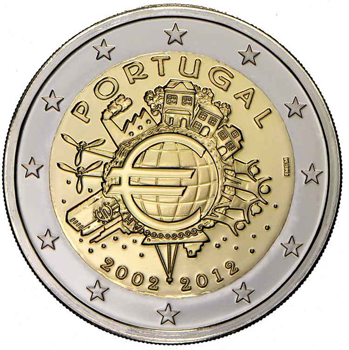 Image of a coin 2 euro | Portugal | Ten years of Euro  | 2012