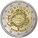 2 euro coin Ten years of Euro  | Portugal 2012