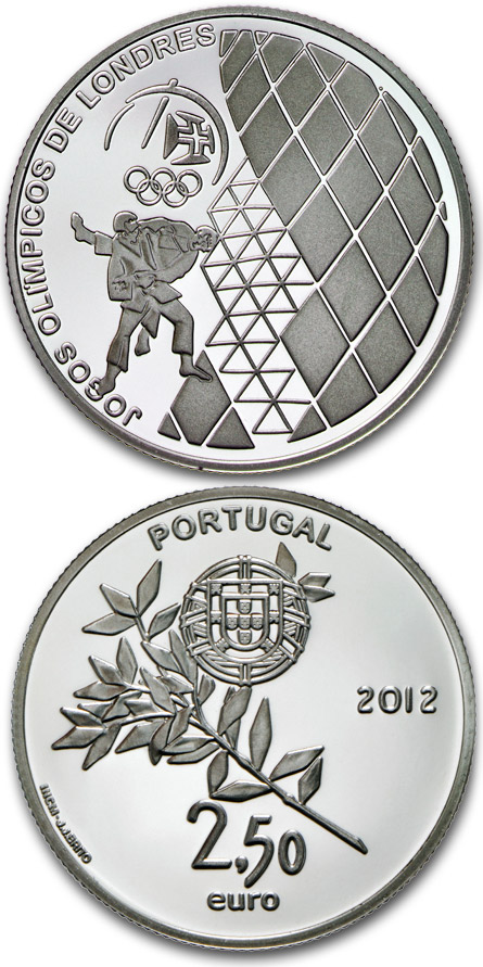 Image of XXX. Summer Olympics in London – 2.5 euro coin Portugal 2012.  The Silver coin is of Proof, BU, UNC quality.