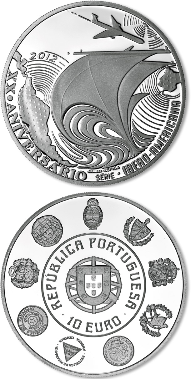 Image of 10 euro coin - 20th Anniversary of the Ibero-American Series | Portugal 2012.  The Silver coin is of Proof, UNC quality.