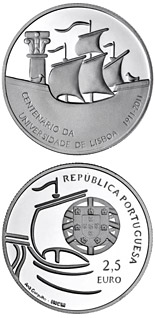 2.5 euro 100th Anniversary of the University of Lisbon - 2012 - Series: Commemorative 2.5 euro coins - Portugal