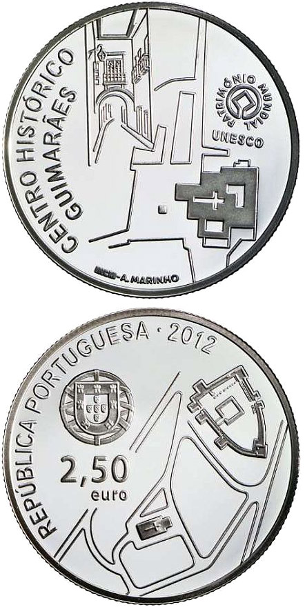 Image of 2.5 euro coin - Historic Centre of Guimarães | Portugal 2012