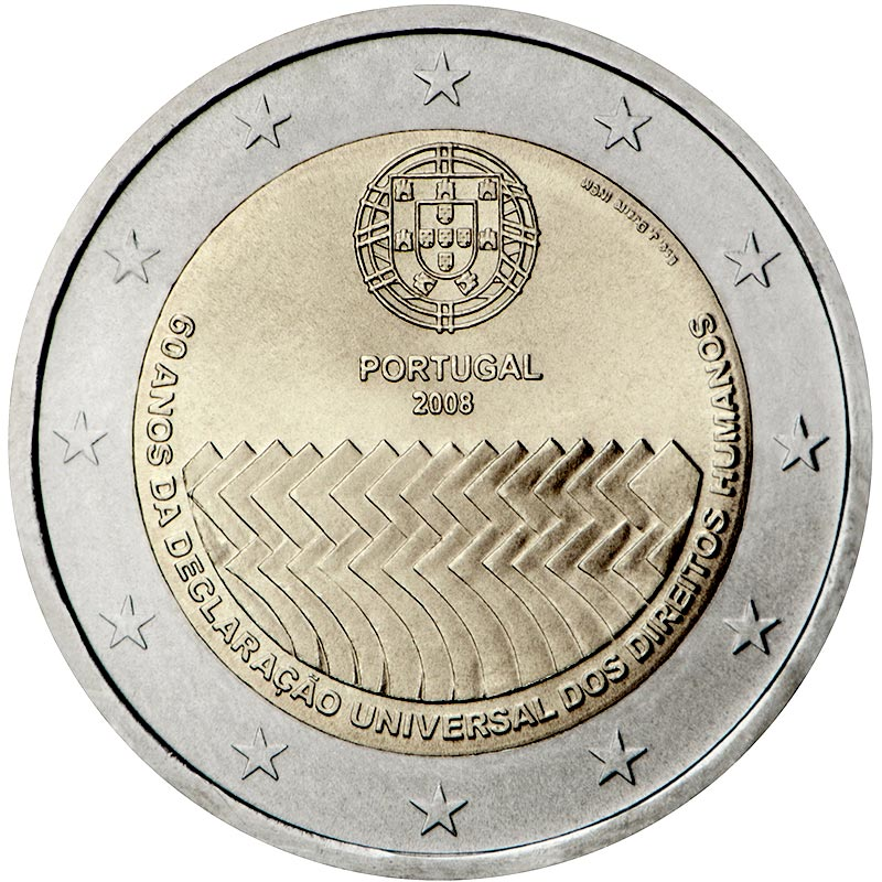 Image of 2 euro coin 60th Anniversary of the Universal Declaration of Human Rights | Portugal 2008