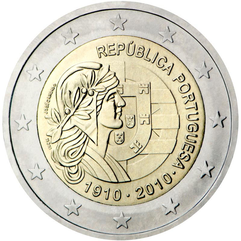Image of 100th anniversary of Republic Portugal – 2 euro coin Portugal 2010