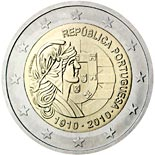 2 euro coin 100th anniversary of Republic Portugal | Portugal 2010