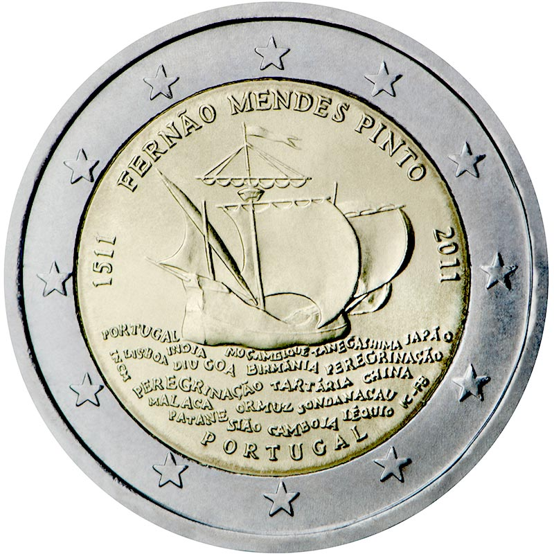 Image of a coin 2 euro | Portugal | 500th annivesary of the birth of Fernão Mendes Pinto | 2011