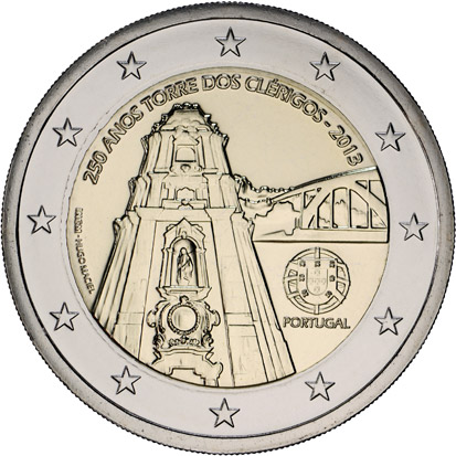 Image of 2 euro coin - 250 Years of the Torre dos Clérigos | Portugal 2013