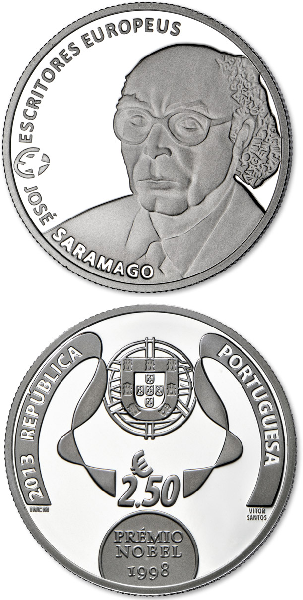 Image of 2.5 euro coin - José Saramago | Portugal 2013.  The Silver coin is of Proof quality.