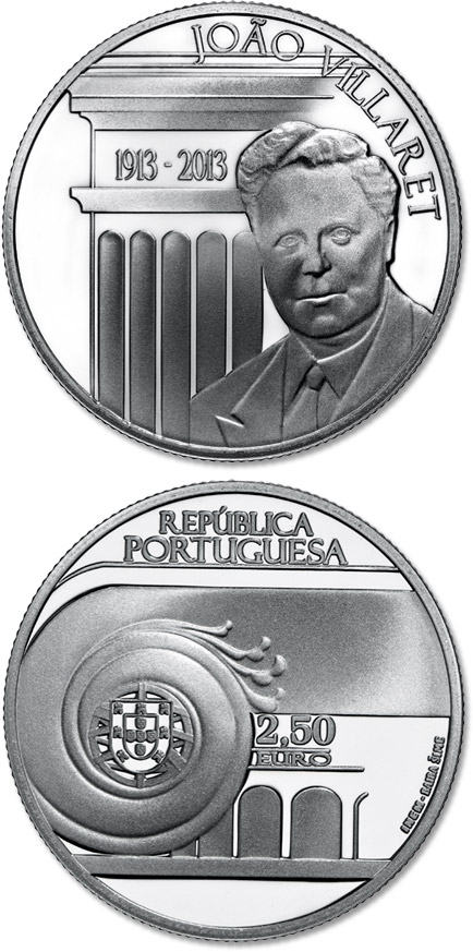 Image of a coin 2.5 euro | Portugal | 100th Anniversary Of João Villaret | 2013